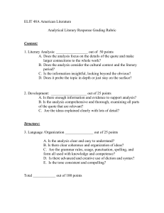 ELIT 48A American Literature  Analytical Literary Response Grading Rubric