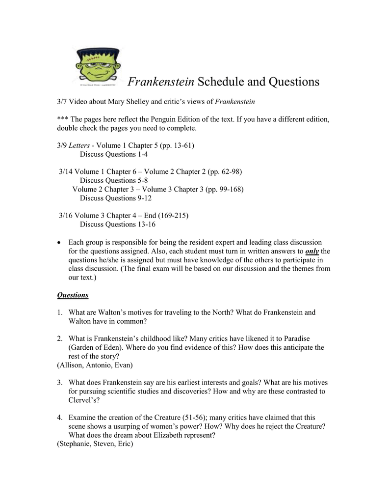 frankenstein study questions ch 5 7 answers choice image diagram writing sample ideas and guide Frankenstein Study Guide Glencoe Answers frankenstein study guide questions answer key