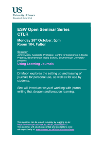 ESW Open Seminar Series CTLR  Monday 28