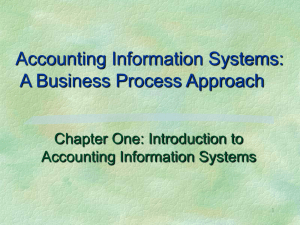Accounting Information Systems: A Business Process Approach Chapter One: Introduction to