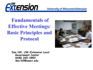 Fundamentals of Effective Meetings: Basic Principles and Protocol