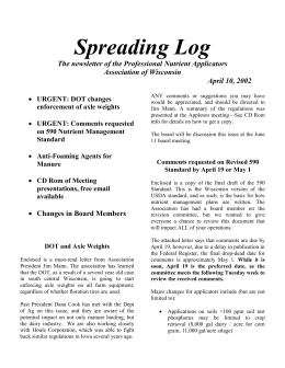 Spreading Log  The newsletter of the Professional Nutrient Applicators Association of Wisconsin