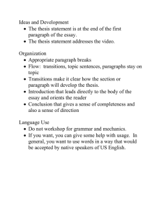 Ideas and Development paragraph of the essay.