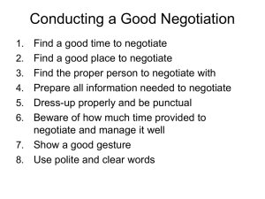 Conducting a Good Negotiation