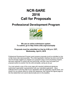 NCR-SARE 2016 Call for Proposals Professional Development Program