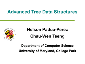 Advanced Tree Data Structures Nelson Padua-Perez Chau-Wen Tseng Department of Computer Science