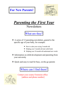 Parenting the First Year  For New Parents! Newsletters