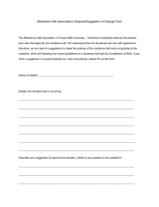 Residence Hall Association's Request/Suggestion of Change Form
