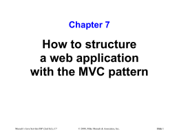 How to structure a web application with the MVC pattern Chapter 7