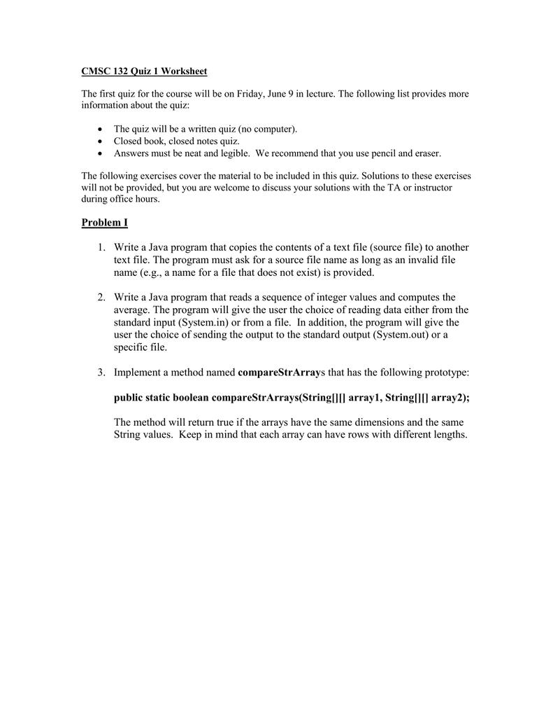 CMSC 132 Quiz 1 Worksheet information about the quiz: