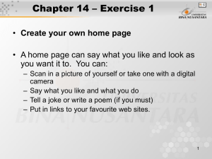 Chapter 14 – Exercise 1 Create your own home page