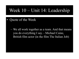 Week 10 – Unit 14: Leadership • Quote of the Week