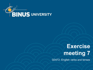 Exercise meeting 7 G0472- English verbs and tenses