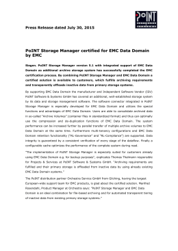 PoINT Storage Manager certified for EMC Data Domain by EMC