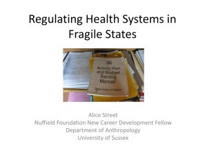 Regulating Health Systems in Fragile States