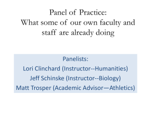 Panel of  Practice: staff  are already doing