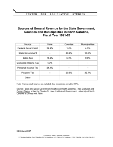 Sources of General Revenue for the State Government, Fiscal Year 1991-92
