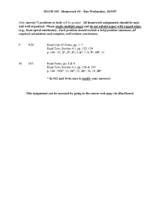MATH 103 - Homework #4 – Due Wednesday, 10/3/07