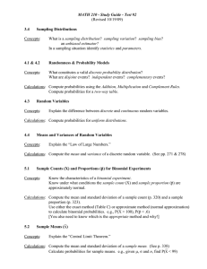 MATH 210 - Study Guide - Test #2 (Revised 10/19/09)  Concepts: