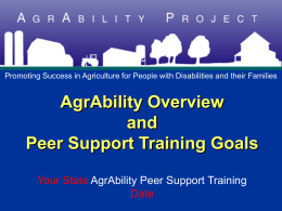 Unit 2: AgrAbility Overview and PS Training Goals