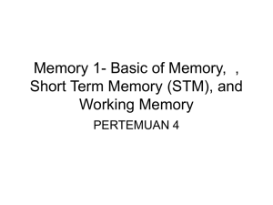 Memory 1- Basic of Memory,  , Working Memory PERTEMUAN 4