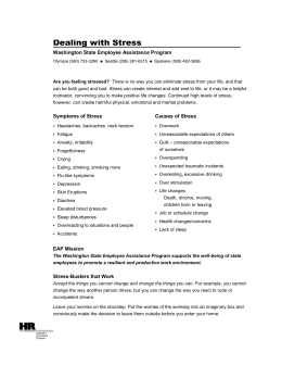 Dealing with Stress  Washington State Employee Assistance Program