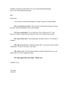 SAMPLE COVER LETTER FOR E3 EVALUATION QUESTIONNAIRE  Date
