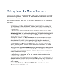 Talking Points for Mentor Teachers