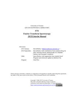 FTS Fourier Transform Spectroscopy 2015S Interim Manual