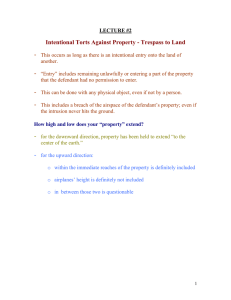 Intentional Torts Against Property - Trespass to Land
