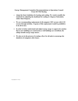 Energy Management Committee Recommendations to Operations Council From 10/17/06 Meeting