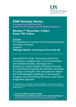 ESW Seminar Series  Monday 7 November, 4.30pm