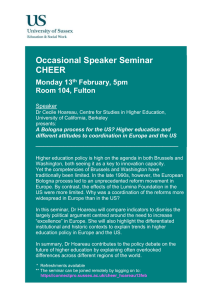 Occasional Speaker Seminar CHEER  Monday 13