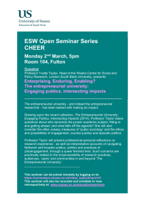 ESW Open Seminar Series CHEER  Monday 2