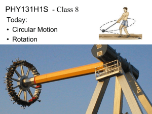 PHY131H1S - Class 8 Today: • Circular Motion • Rotation