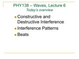 Constructive and Destructive Interference Interference Patterns Beats