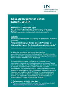 ESW Open Seminar Series SOCIAL WORK