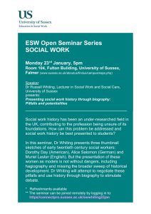 ESW Open Seminar Series SOCIAL WORK  ____________________________________