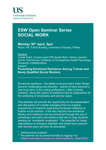 ESW Open Seminar Series SOCIAL WORK  Monday 30