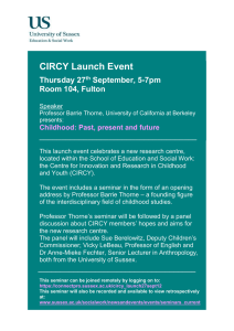 CIRCY Launch Event  Thursday 27 September, 5-7pm