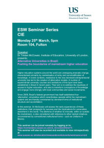 ESW Seminar Series CIE  Monday 25