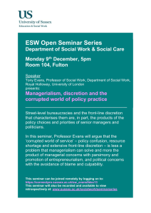 ESW Open Seminar Series  Department of Social Work & Social Care