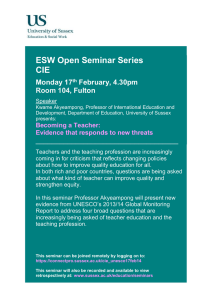 ESW Open Seminar Series CIE  Monday 17