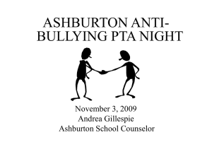 PowerPoint presentation from PTA Anti-Bullying Parent and Children Night