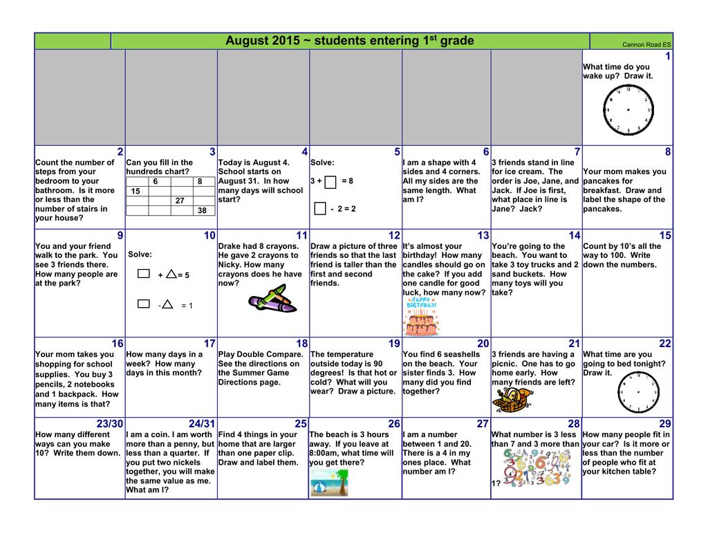 August Grade 1