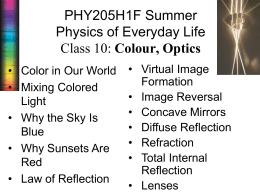 PHY205H1F Summer Physics of Everyday Life Colour, Optics