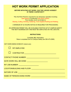 HOT WORK PERMIT APPLICATION