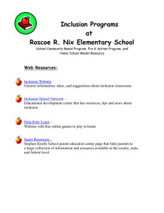 Inclusion Programs at Roscoe R. Nix Elementary School