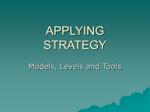 APPLYING STRATEGY Models, Levels and Tools