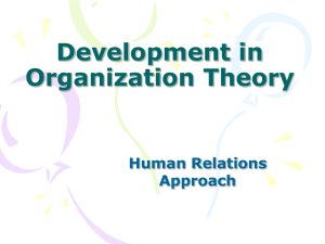 Development in Organization Theory Human Relations Approach
